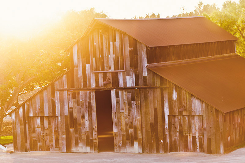 Central Coast rustic ranch wedding venue, Greengate ranch, barn with sunset.
