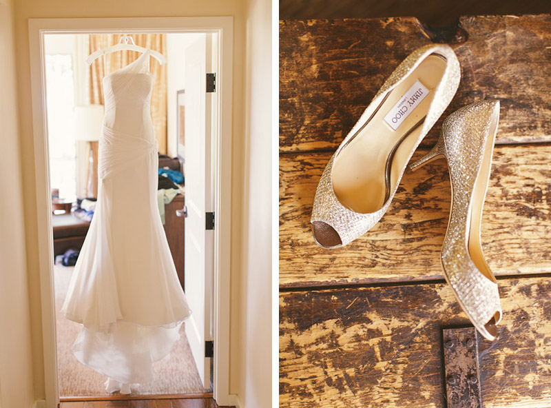 Carmel wedding, Carmel Valley Ranch, dress hanging in door jam and jimmy choo shoes on old chest.