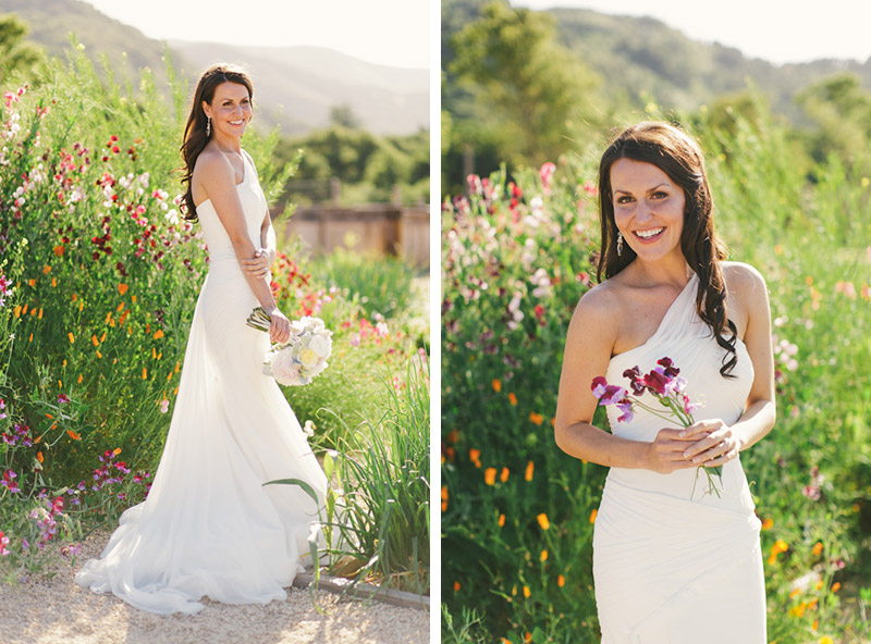 Carmel wedding, Carmel Valley Ranch, bride holding flowers in sweet pea garden on a sunny afternoon.