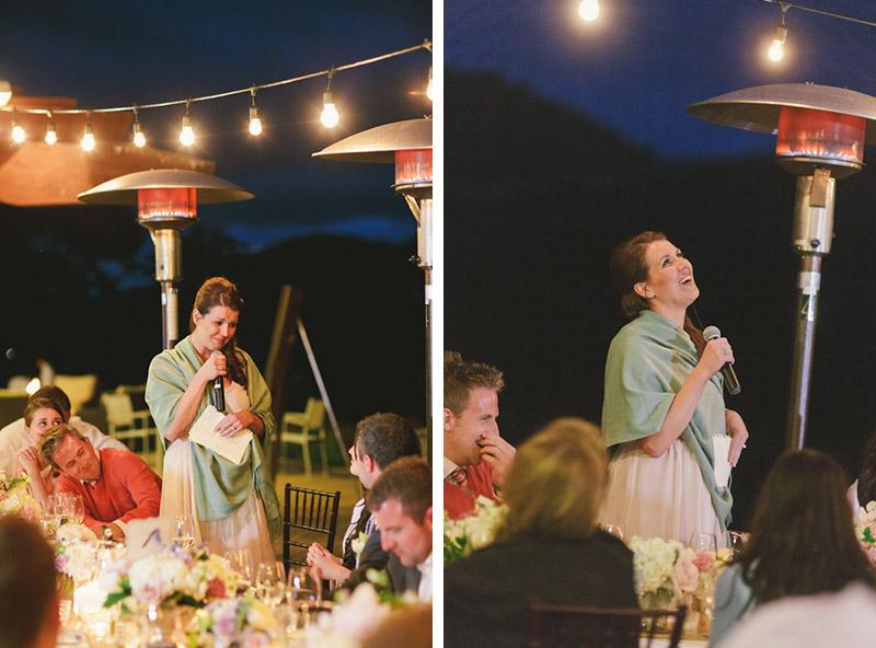 Carmel wedding, Carmel Valley Ranch,  sister giving speech during reception under twinkle lights.