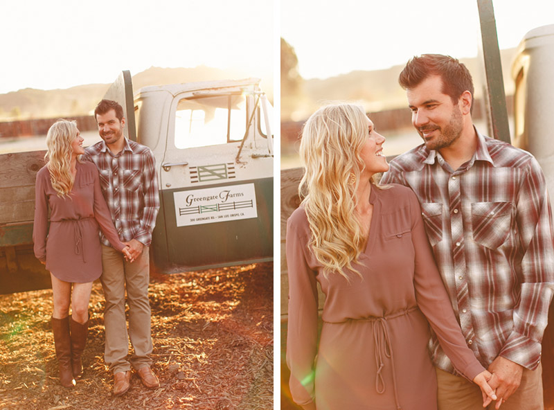 Greengate Ranch, San Luis Obispo, couple in front of vintage hay truck.