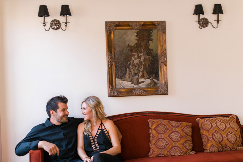 San Luis Obispo, Granada Hotel & Bistro, couple being romantic on couch.