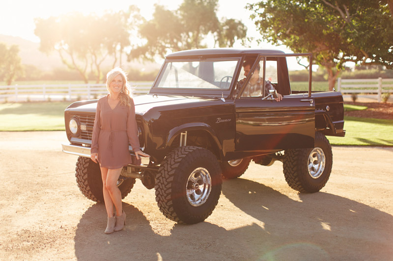 Greengate Ranch, San Luis Obispo, couple in front of vintage bronco. (2 of 2)