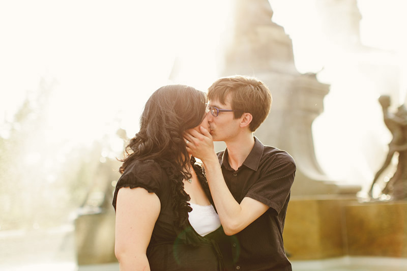 Montreal, Canada, kissing by water fountain
