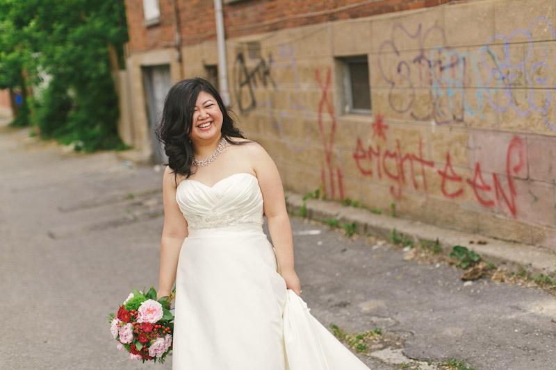 Montreal, Canada, bride in alley way