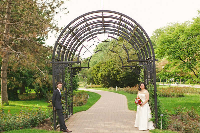 Montreal, Canada, bride and groom under arch way (1 of 2)