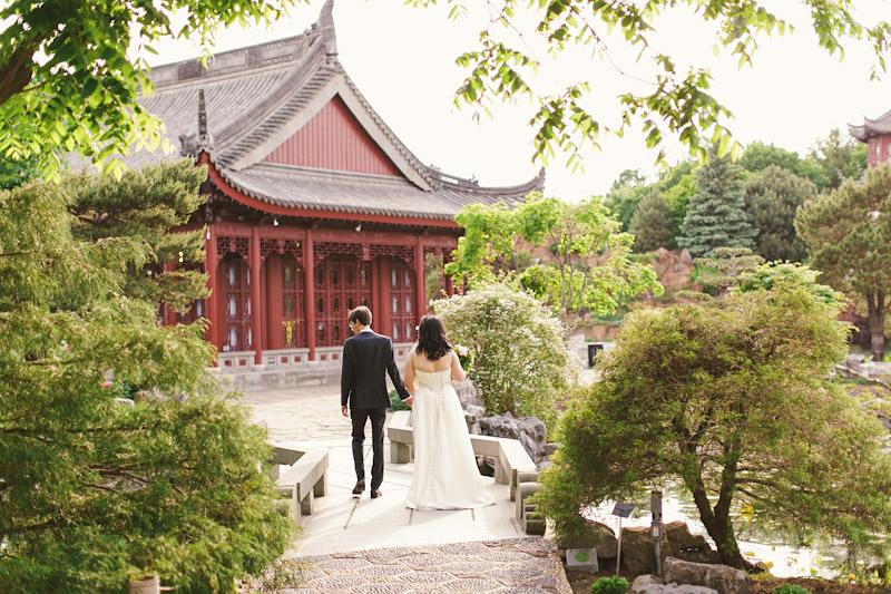 Montreal, Canada, couple walking in oriental garden