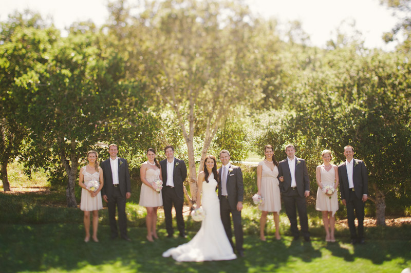 Carmel wedding, Carmel Valley Ranch, bridal party shot in front of trees.