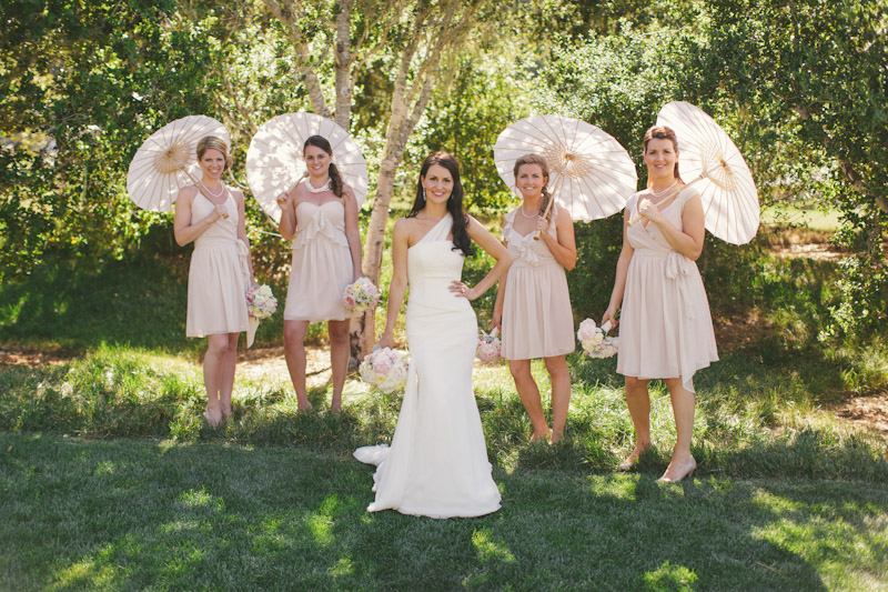 Carmel wedding, Carmel Valley Ranch, bride & bridesmaids holding umbrellas.