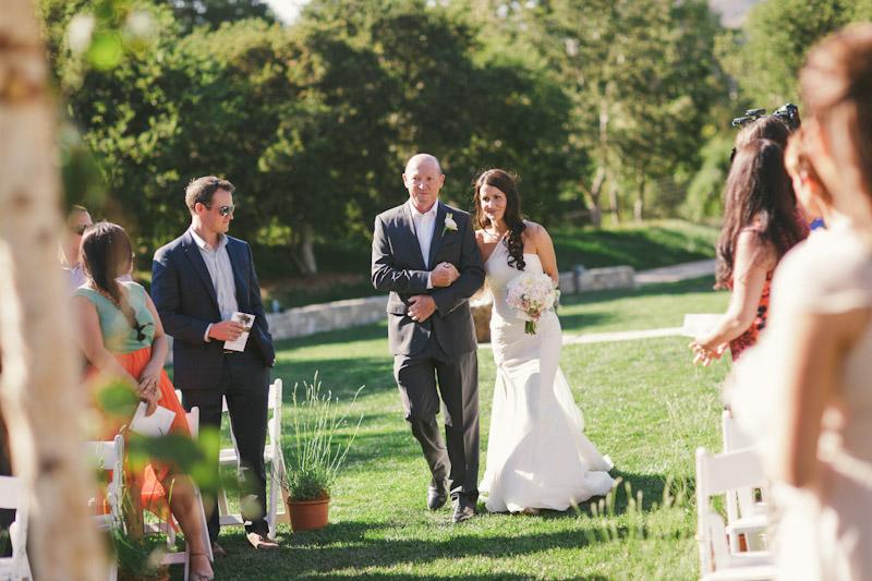 Carmel wedding, Carmel Valley Ranch, father walking bride down aisle.