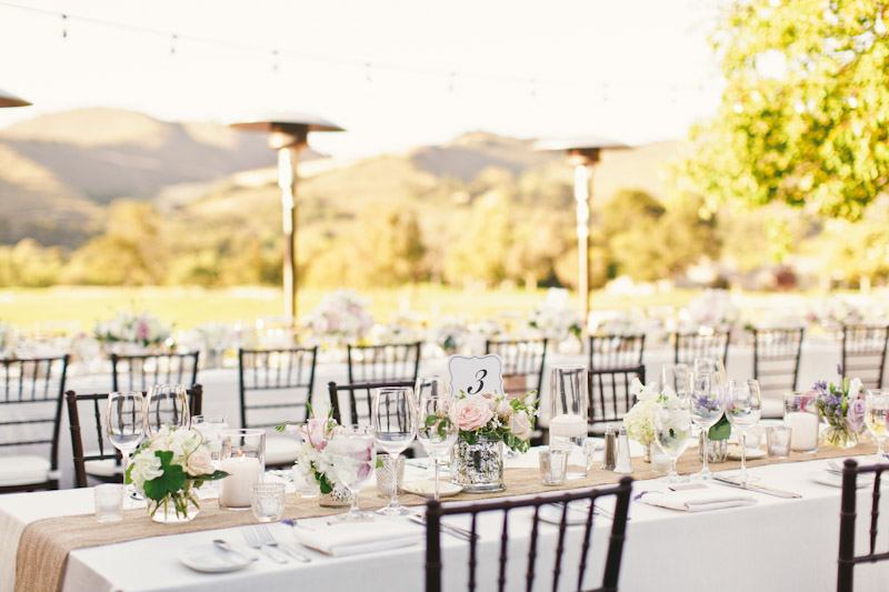 Carmel wedding, Carmel Valley Ranch, table details at reception. (1 of 3)