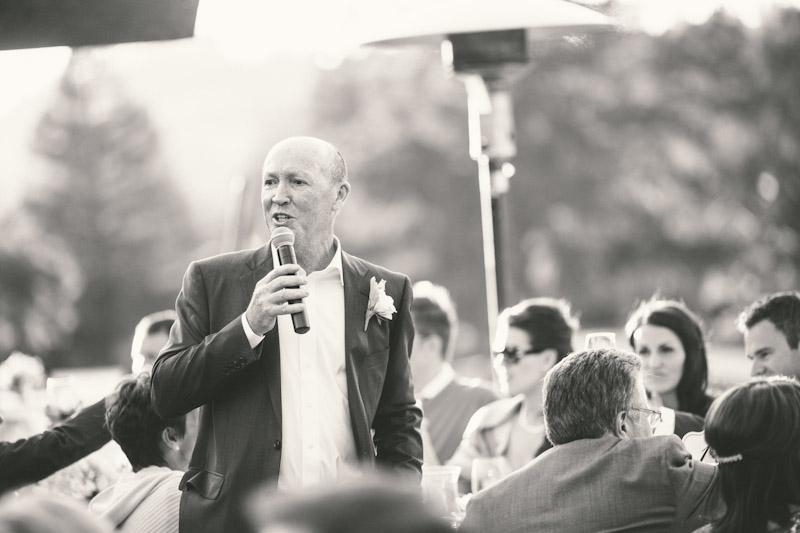 Carmel wedding, Carmel Valley Ranch, father of bride giving speech during dinner.