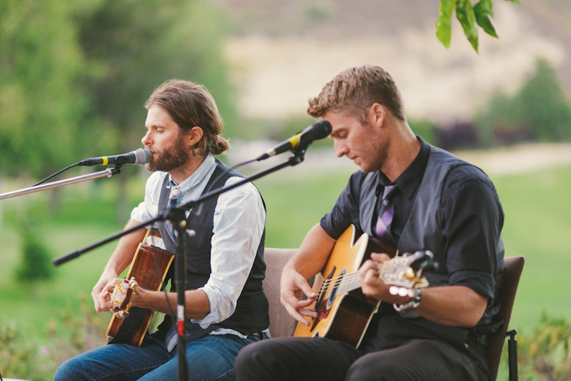 Carmel wedding, Carmel Valley Ranch, acoustic guitar players playing during cocktail hour, Randy Coleman & Brett.