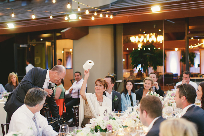 Carmel wedding, Carmel Valley Ranch, father of bride giving speech during dinner. (2 of 2)