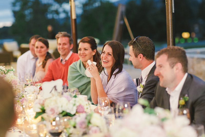 Carmel wedding, Carmel Valley Ranch,  bride laughing and crying during father of bride speech.