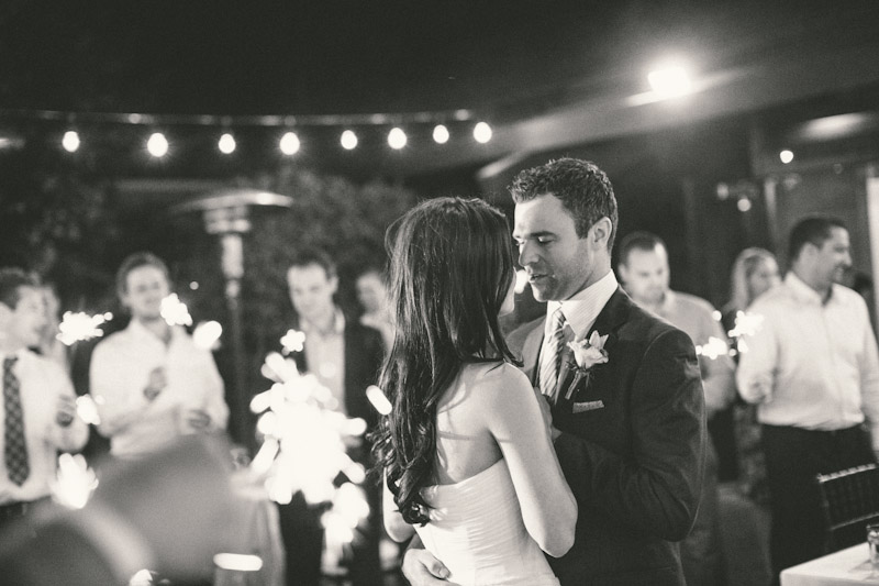 Carmel wedding, Carmel Valley Ranch,  bride and groom's first dance under twinkle lights.