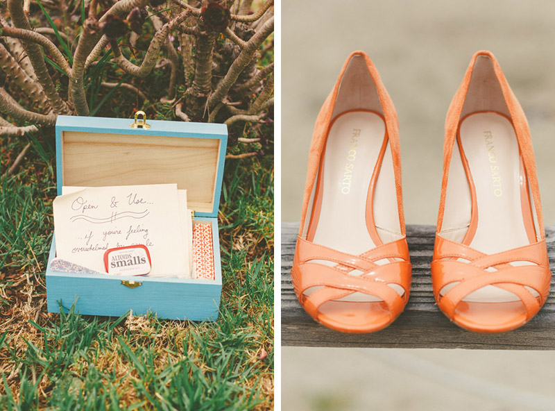 Cayucos Creek Barn, orange wedding shoes/ kit
