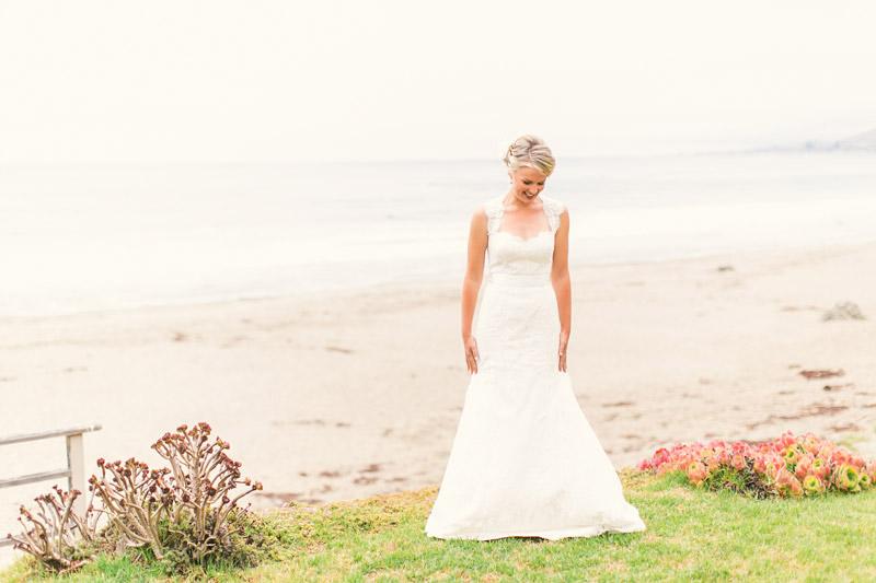 Cayucos, bride posing