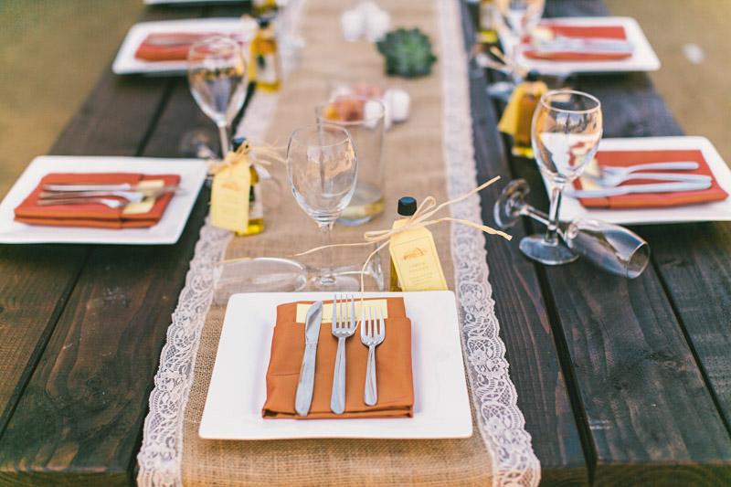 Cayucos Creek Barn, Orange and yellow table setting