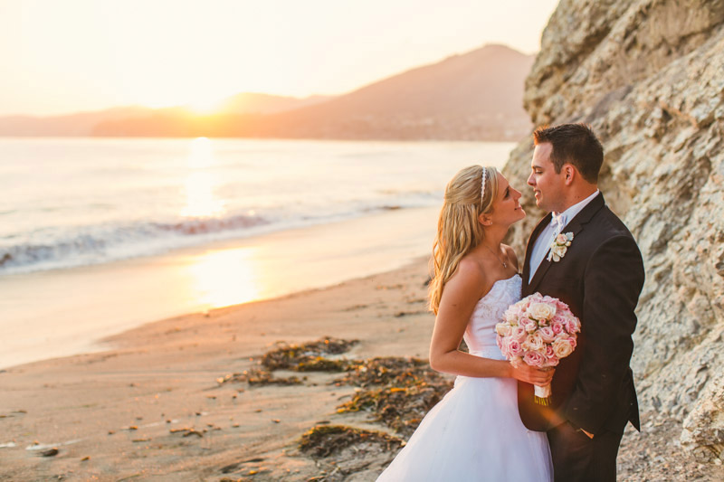 Shell Beach, bride and groom together on the beach at sunset