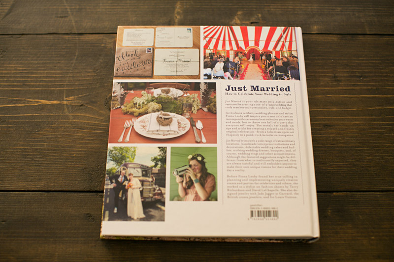 Just Married by Fiona Leahy, Vintage Circus Wedding featured on back cover.