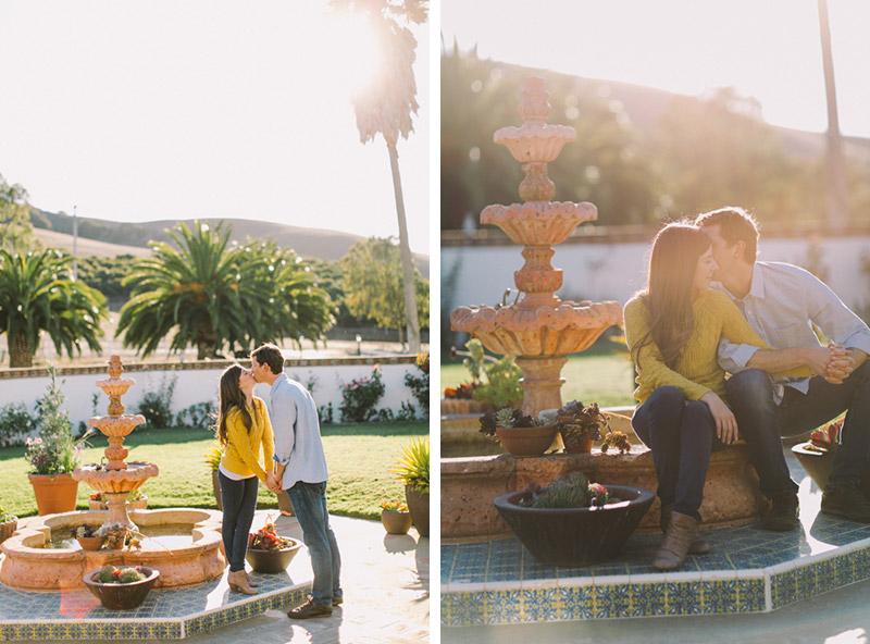 La Familia Ranch, San Luis Obispo, couple in love by fountain