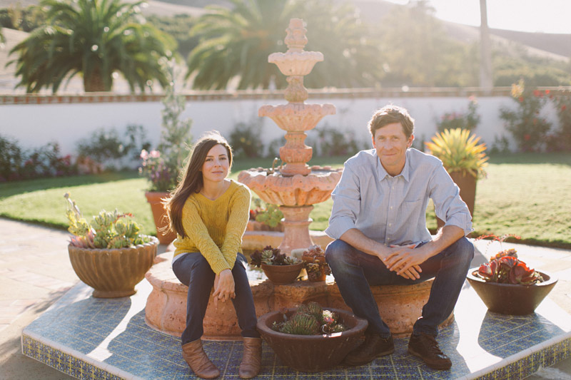 La Familia Ranch, San Luis Obispo, couple sitting on fountain (1 of 2)