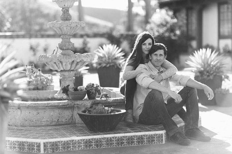 La Familia Ranch, San Luis Obispo, couple sitting on fountain (2 of 2)