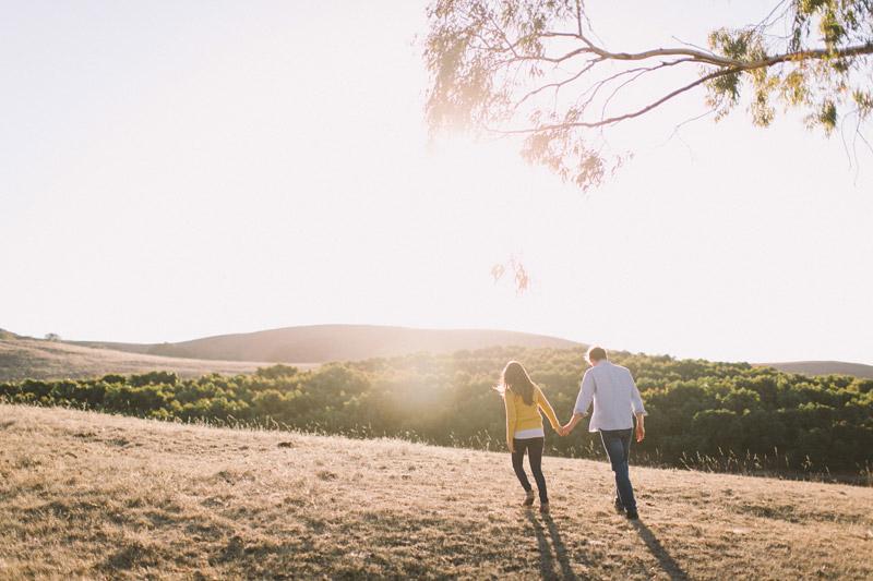 La Familia Ranch, San Luis Obispo, couple walking away into the sunset