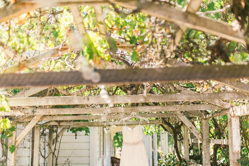 Santa Margarita Ranch, wedding dress hanging on the terrace