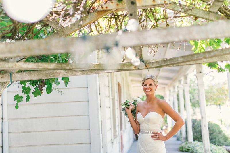 Santa Margarita Ranch, the bride with bouquet