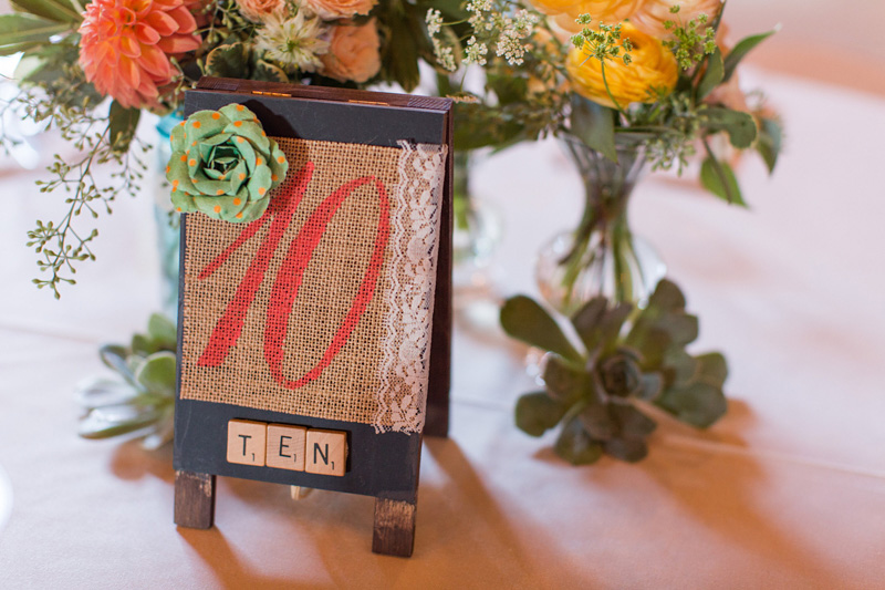 Santa Margarita Ranch burlap table numbers