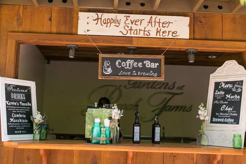 Peacock Farms Wedding with a coffee bar and menu signs