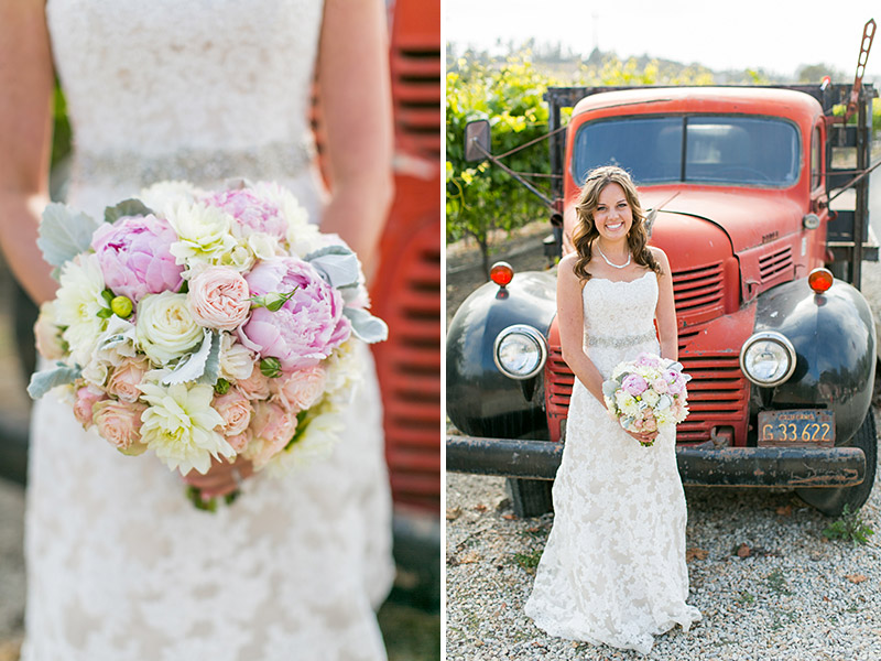 Peacock Farms Wedding Bride and Groom Bride and her bouquet in front of a red vintage truck