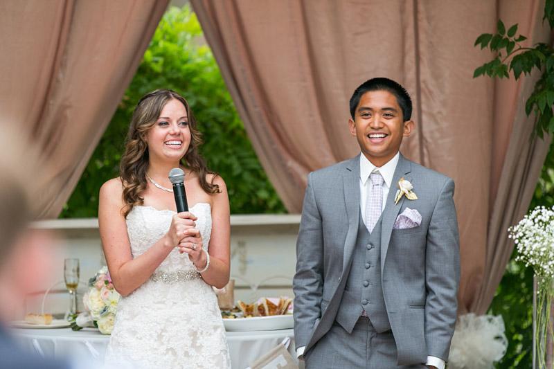 Peacock Farms Wedding Bride and Groom make a speech