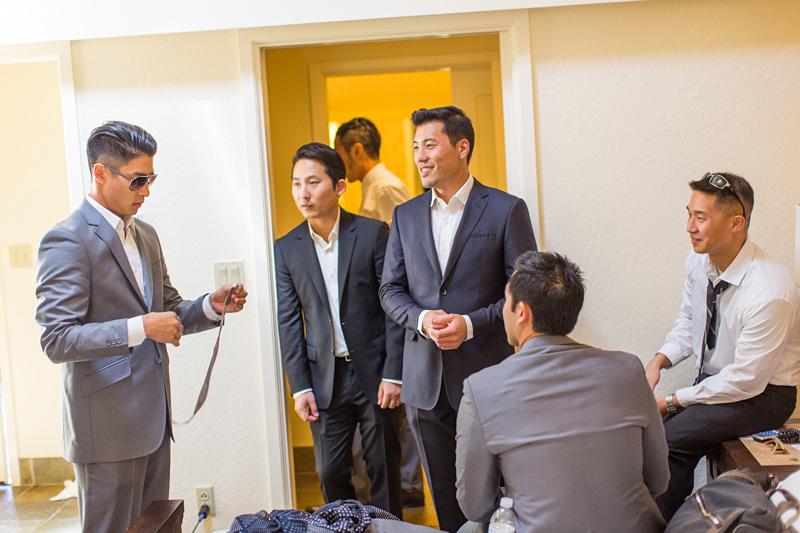Bernardus Winery Wedding Groom getting ready with groomsmen (1 of 4)