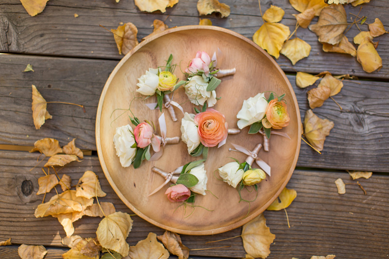 Bernardus Winery Wedding Amanda Luu floral designs - colorful boutonnière