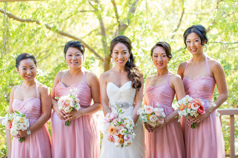 Bernardus Winery Wedding Bride and Bridesmaids in peach dresses