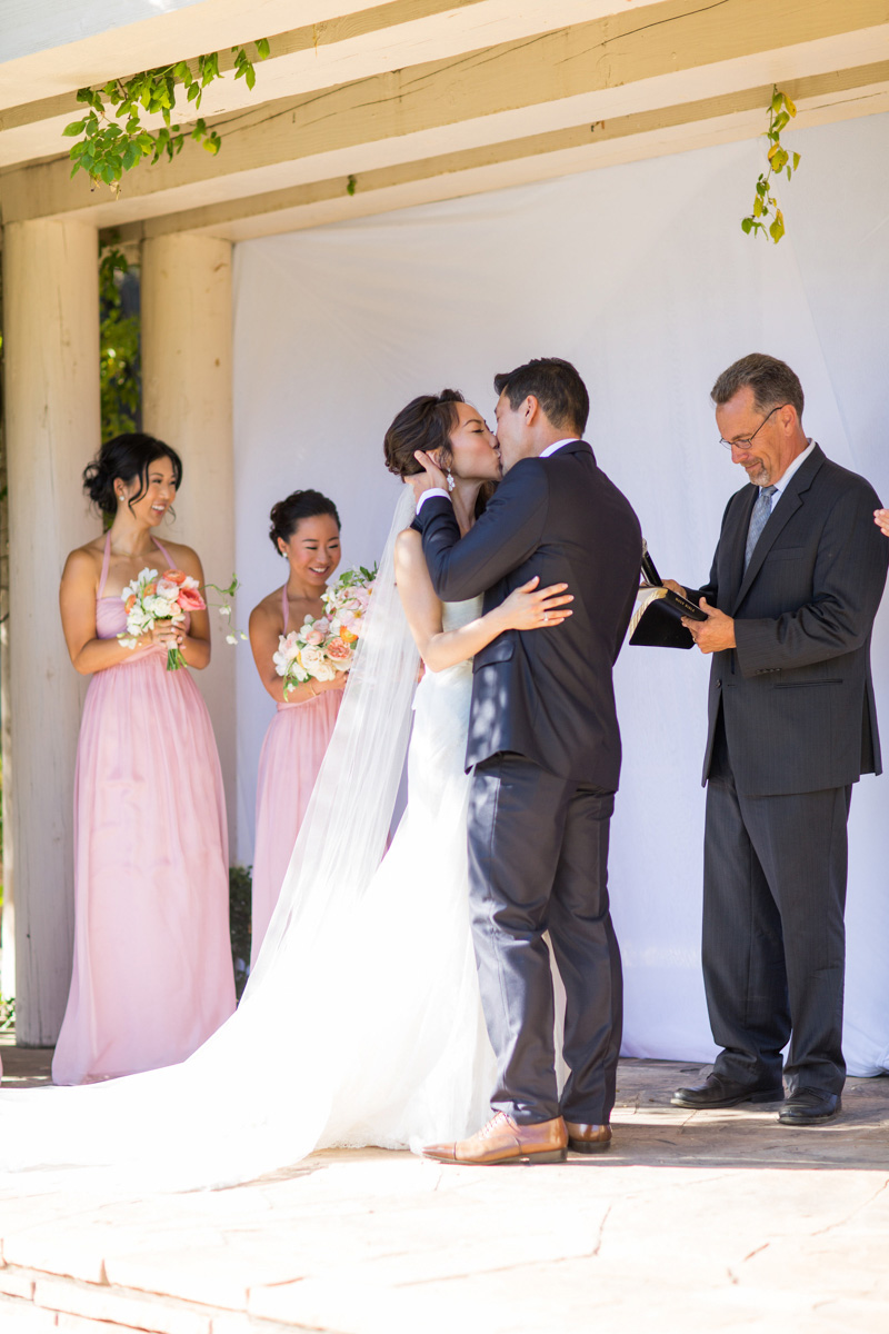 Bernardus Winery Wedding Bride and Groom first kiss