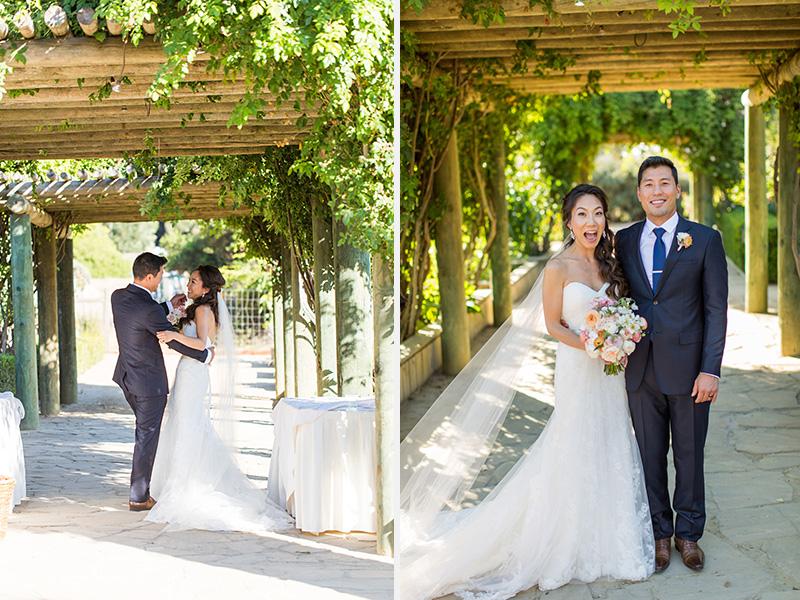 Bernardus Winery Wedding Bride and Groom under a vineyard (1 of 2)