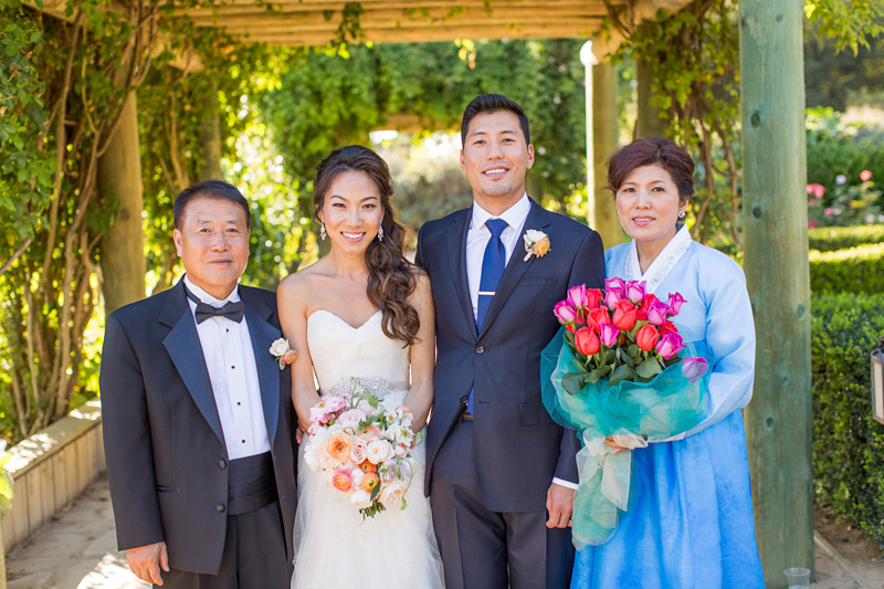 Bernardus Winery Wedding photo with the Groom's parents