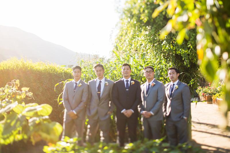 Bernardus Winery Wedding Groom and groomsmen in the garden (1 of 3)
