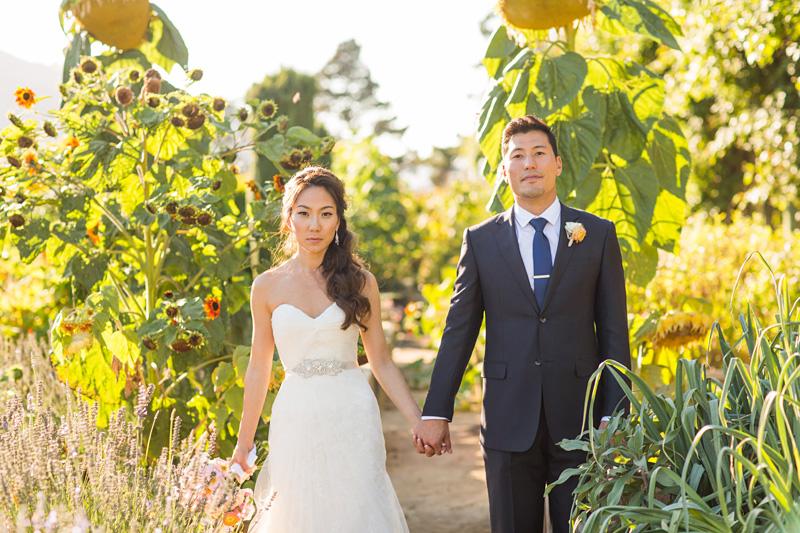 Bernardus Winery Wedding Groom and Bride in the garden (1 of 5)