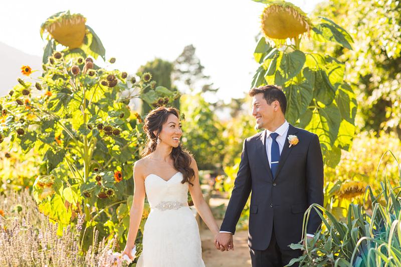 Bernardus Winery Wedding Groom and Bride in the garden (2 of 5)