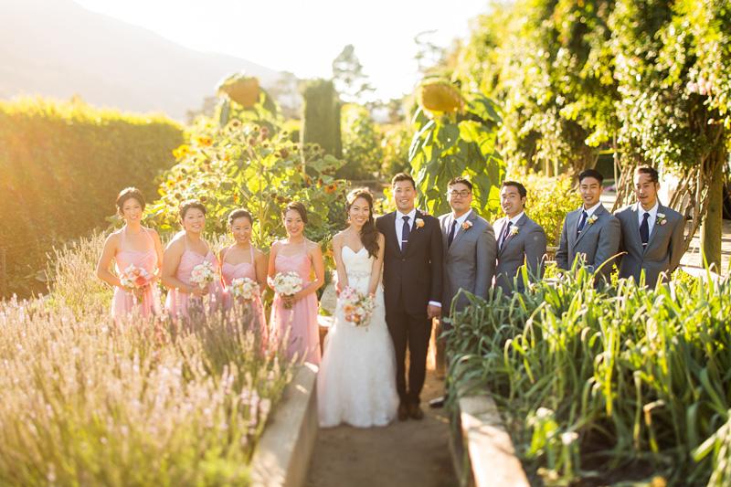 Bernardus Winery Wedding Bridal party in the garden