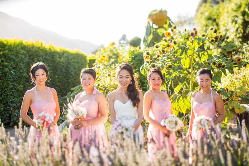 Bernardus Winery Wedding Bride and Bridesmaids in the garden