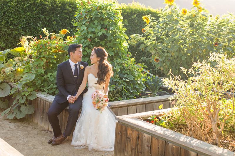 Bernardus Winery Wedding Groom and Bride in the garden (5 of 5)