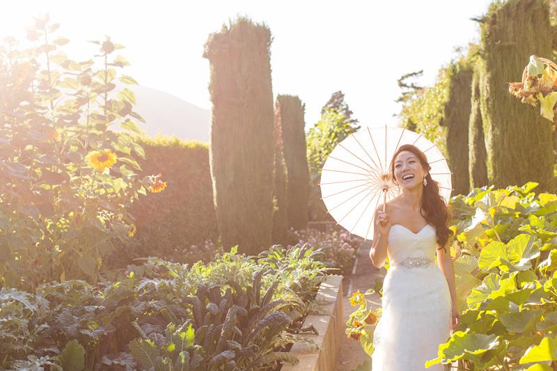 Bernardus Winery Wedding Bride in the garden (2 of 2)