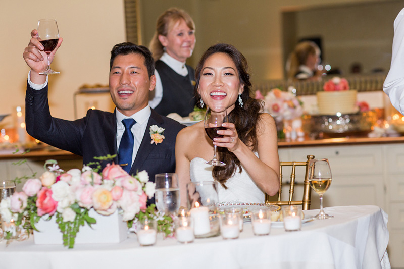 Bernardus Winery Wedding Bride and Groom at their head table (2 of 2)