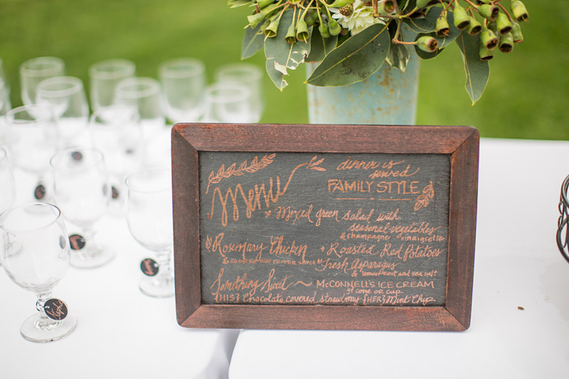 The Stow House Wedding menu on chalkboard